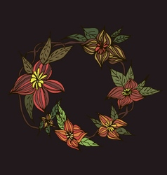 Beautiful dark floral wreath vector