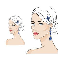 beautiful woman wearing luxury jewelry vector image