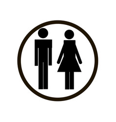 black male and female toilet sign in circle on vector image