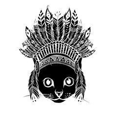 Black silhouette head cat with indian hat vector