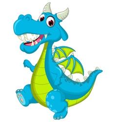 Blue dragon cartoon walking vector