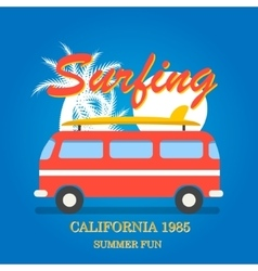 California surfing typography vector