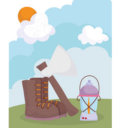 camping boot axe and lantern cartoon vector image