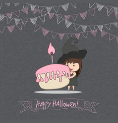 Cartoon girl witch holding cupcake halloween vector
