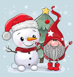 Cartoon gnome and snowman near christmas tree vector
