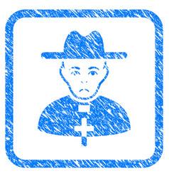 catholic priest framed stamp vector image