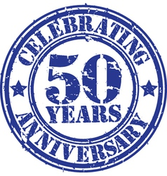 Celebrating 50 years anniversary grunge rubber sta vector image