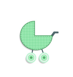 checkered green baby stroller sticker or icon vector image