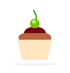 chocolate cupcakes with green cherry flat vector image