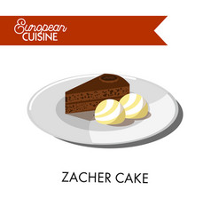 chocolate zacher cake with ice cream balls from vector image
