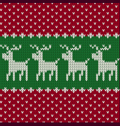 christmas seamless knitted pattern background vector image