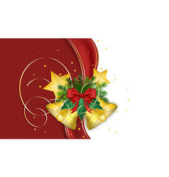 Christmas wish with golden bells ribbon needles vector