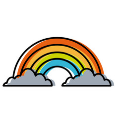 clouds and rainbow forecast climate icon vector image