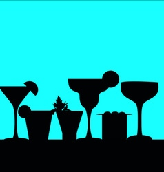 Cocktail silhouettes in a row vector