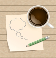 Coffee with bubble on paper note and pencil vector image