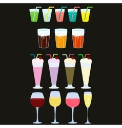 Collection of drinks Drink icons vector
