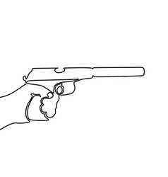 continuous line drawing hand holding gun with vector image
