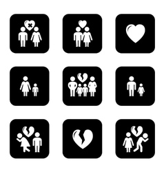 Couple breakup divorce black icons set vector