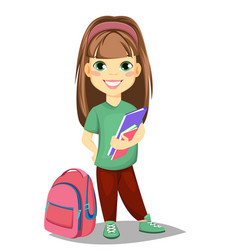 cute girl with books in casual clothes stands vector image