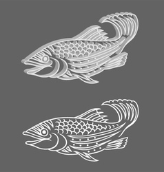 Decorative 3d Relief and Original Fish vector image