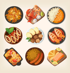 dinner dishes in different countries world vector image