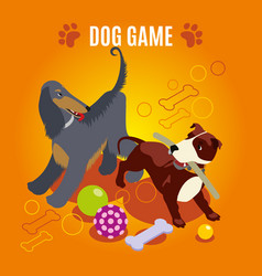 Dog game isometric composition vector