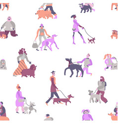 Dog owners seamless pattern vector