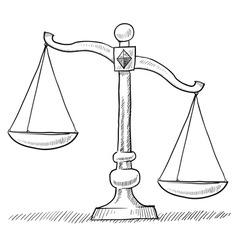 doodle scales unbalanced vector image