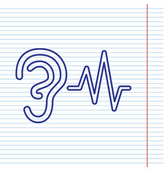 Ear hearing sound sign navy line icon on vector