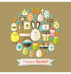 easter greeting card with flat icons set circular vector image
