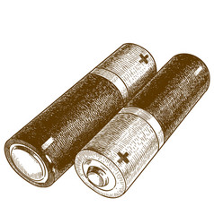 engraving two batteries vector image