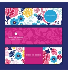 Fairytale flowers horizontal banners set vector