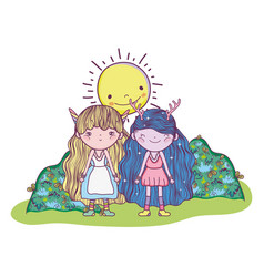 fantastic creatures girls with sun and bushes vector image