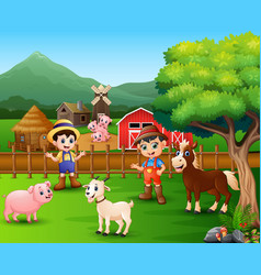 Farm scenes with different animals and farmers in vector