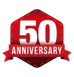 Fifty year anniversary badge with red ribbon vector
