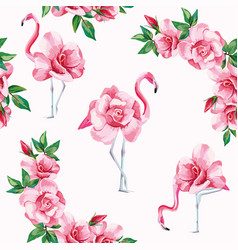 flamingo roses seamless pattern white background vector image