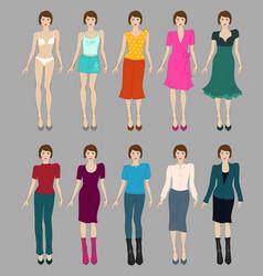 Flat fashion models vector image