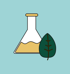 Flat icon design collection lab flask with leaf vector