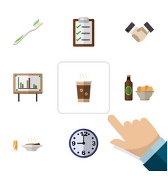 Flat icon life set of partnership lunch watch vector