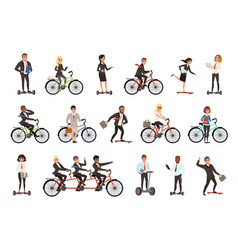 Flat set office workers on different vector
