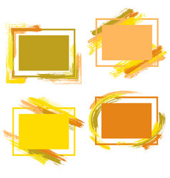 frames with paint brush strokes of warm colors vector image