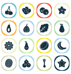 fruit icons set with blueberry freshness olives vector image
