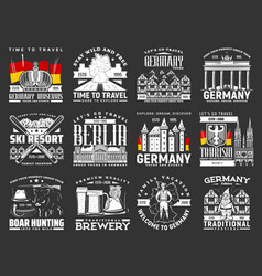 germany travel icons berlin sightseeing tours vector image