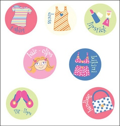 Girl badges vector image