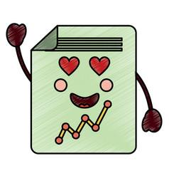 Graph chart heart eyes kawaii icon im vector