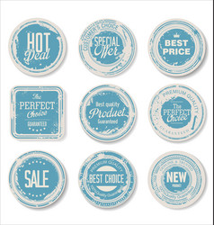 grounge round paper stickers 4 vector image