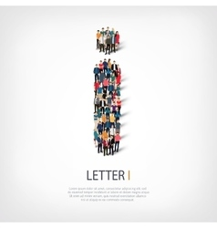 group people shape letter I vector image