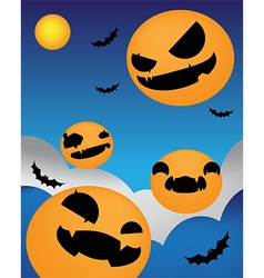 Halloween background face up night vector image