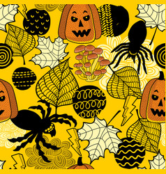 halloween seamless pattern with spiders and vector image