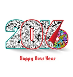Happy new year 2016 monster doodle vector